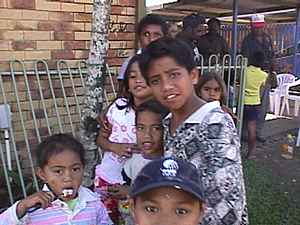 The local children living around the Gathering venue are mainly Aboriginals, Torres Strait Islanders and Pacific Islanders.